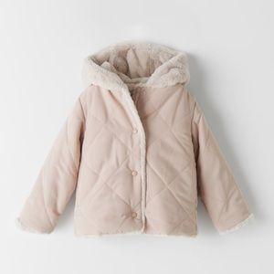 NWT Zara 18-24m faux fur wrap pink coat